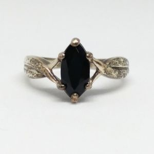Avon Black Onyz Marquise Sterling Silver Ring